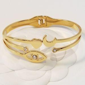 18K Gold Evil Eye Heart Moon Bracelet Bangle Cuff